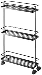 YAMAZAKI home 7152 Tower Rolling Kitchen Storage Cart, Black