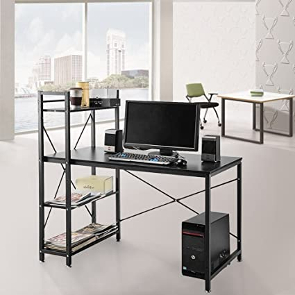 OGIMA 4 Tier Shelving Computer Desk Student PC Workstation Laptop Table  Home Office Desks With Storage