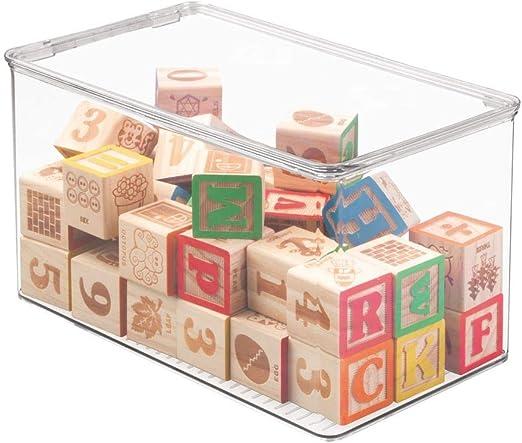 mDesign Organizador de juguetes con tapa - Cajas de almacenaje ...