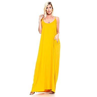 f17fc23f57bf Isaac Liev Women's Casual Loose Long Maxi Dress Spaghetti Strap Dress with  Pockets Beach Wear Summer