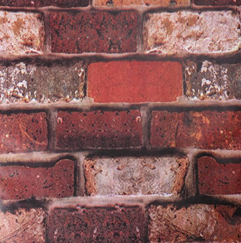 SICOHOME Wallpaper,11 Yard Rust Brick Peel Stick ()