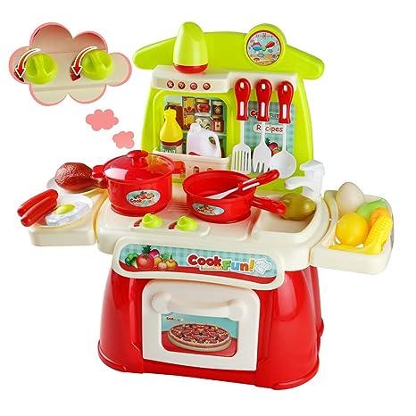 Giochi d\'imitazione Cucina Giocattolo per Bambini Prima Cucina Kit con  Accessori per Ragazzi e Ragazze