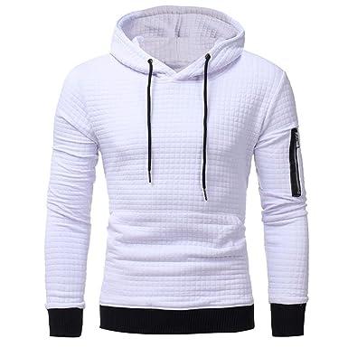 OHQ Pull à Capuche en Laine pour Homme Noir Blanc Gris Foncé Sweat-Shirt  Manches ed451fb29025