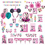 Disney Minnie Mouse Baby Girl 1st Birthday Party Ultimate Supply 16 Pack Set with Mickey Mouse Cupcake Ears Headband