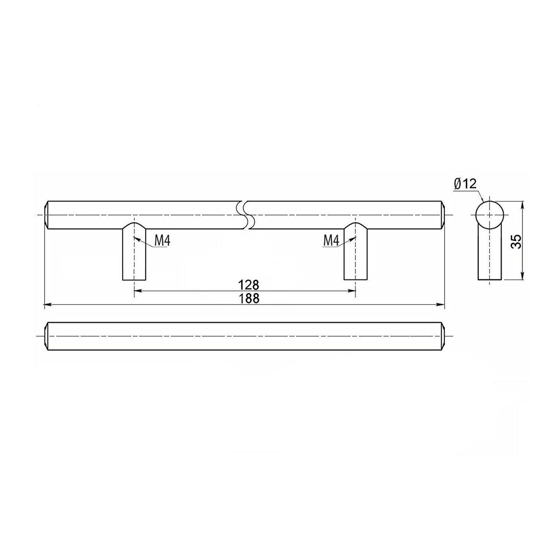 10 St/ück SO-TECH/® Relinggriff G11 M/öbelgriff M/öbelgriffe massiv verchromt BA 128 mm