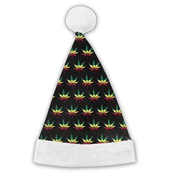 Seasonlogo Jamaica Flag Weed Reggae Traditional Plush Christmas Santa Hat Costume Holiday Hats For Dinner Table