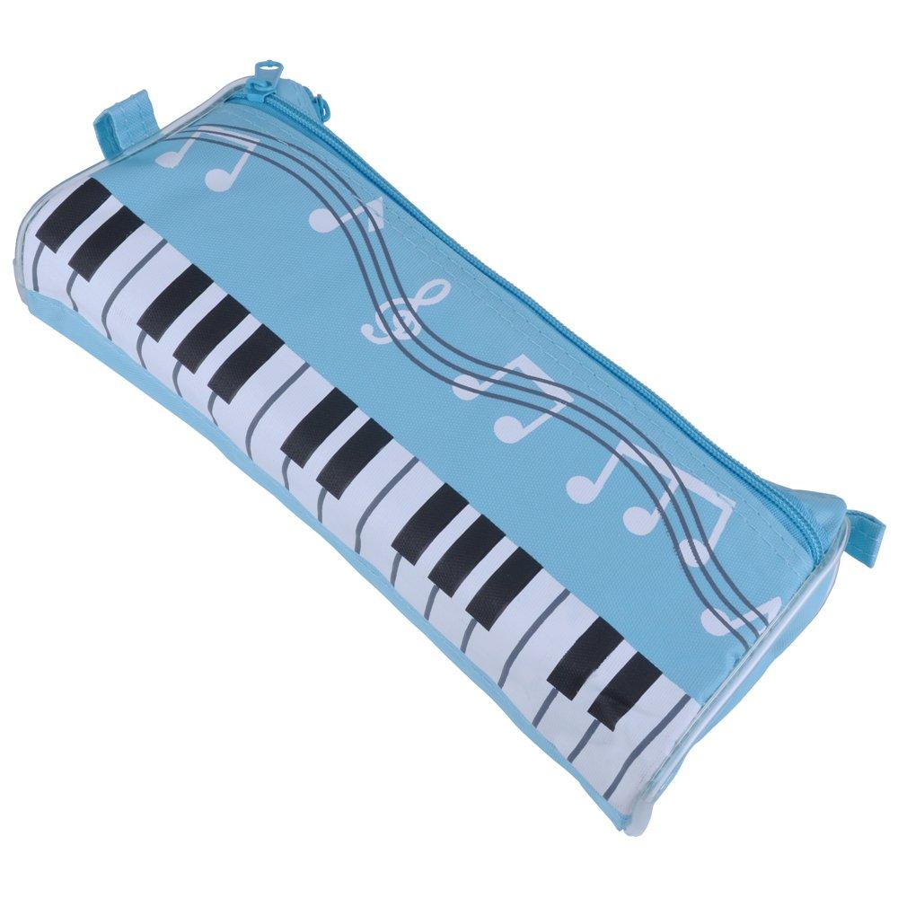 Punk impermeabile con cerniera penna borsa Music Theme tastiera stile matita di 4/colori con Cartoon Music note matita righello Gift Lake Blue