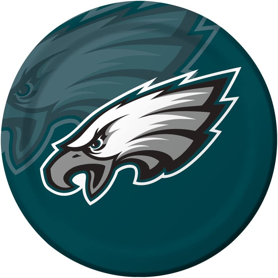 Creative Converting Officially Licensed NFL Dinner Paper Plates, 96-Count, Philadelphia Eagles -