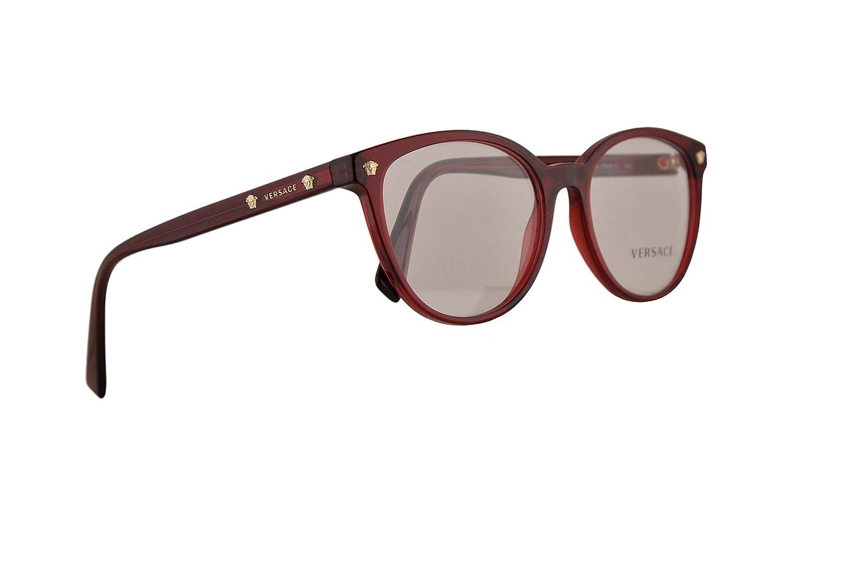 50c11ce6e7 Amazon.com  Versace VE3256 Eyeglasses 54-17-140 Transparent Red w Demo Clear  Lens 388 VE 3256  Clothing
