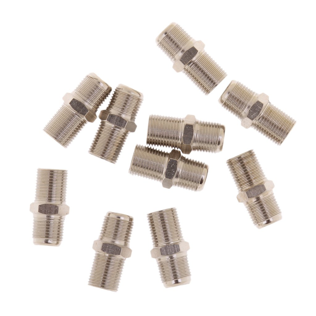 MonkeyJack 10x F Type Coaxial Cable Coupler Female F/F Jack Adapter Connector RG59 RG6