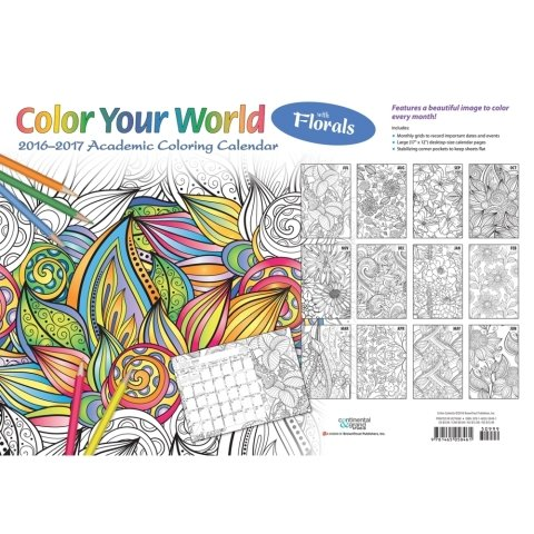 2017 Color Your World Meditative Coloring with Florals Academic Calendar Desk Pad - 12 x 17