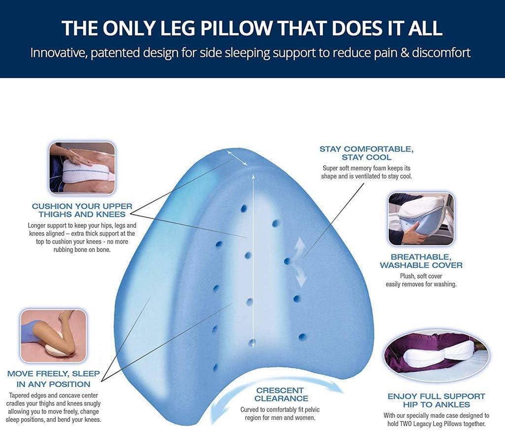 Legs /& Knee Support Wedge Hip GLEYDY Memory Foam Cuscino Ginocchio Gambe Cuscino Ortopedico Ridurre Dolore Schiena Fianchi con Cover,Legacy Leg Pillow for Back