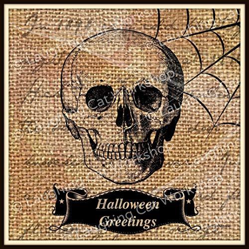Happy Halloween Decor Skull Hipster art print Halloween skull decor, creepy skeleton wall art, Halloween Greetings, spooky Halloween decor, Dorm Decor country rustic wall decor -