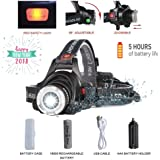 LED Headlamp Flashlight,5-hour Rechargeable 18650 Lithiumion Best Battery, COSOOS 2000-Lumen Super Bright Zoomable Headlight,Red Safety Light,4-Mode,Waterproof Helmet Bike Light,Support AAA Battery