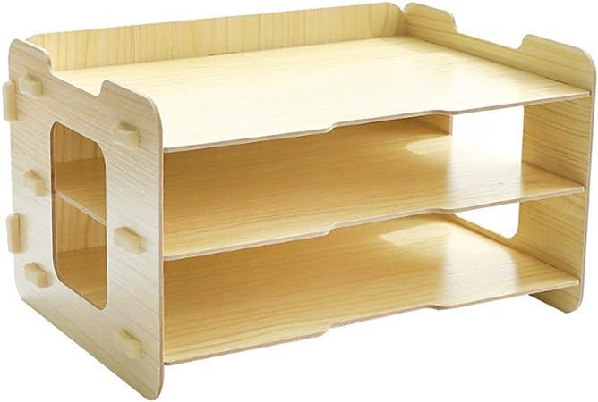 ivansa Organizador de escritorio madera, 3 compartimentos A4 – Bandeja para cartas Oficina Escritorio Mesa Organizador briefkorb Office Desktop Organizador Caja escritorio infantil: Amazon.es: Hogar
