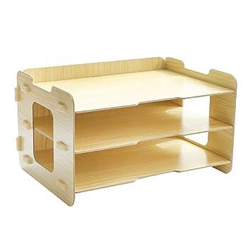 ivansa Organizador de escritorio madera, 3 compartimentos A4 ...