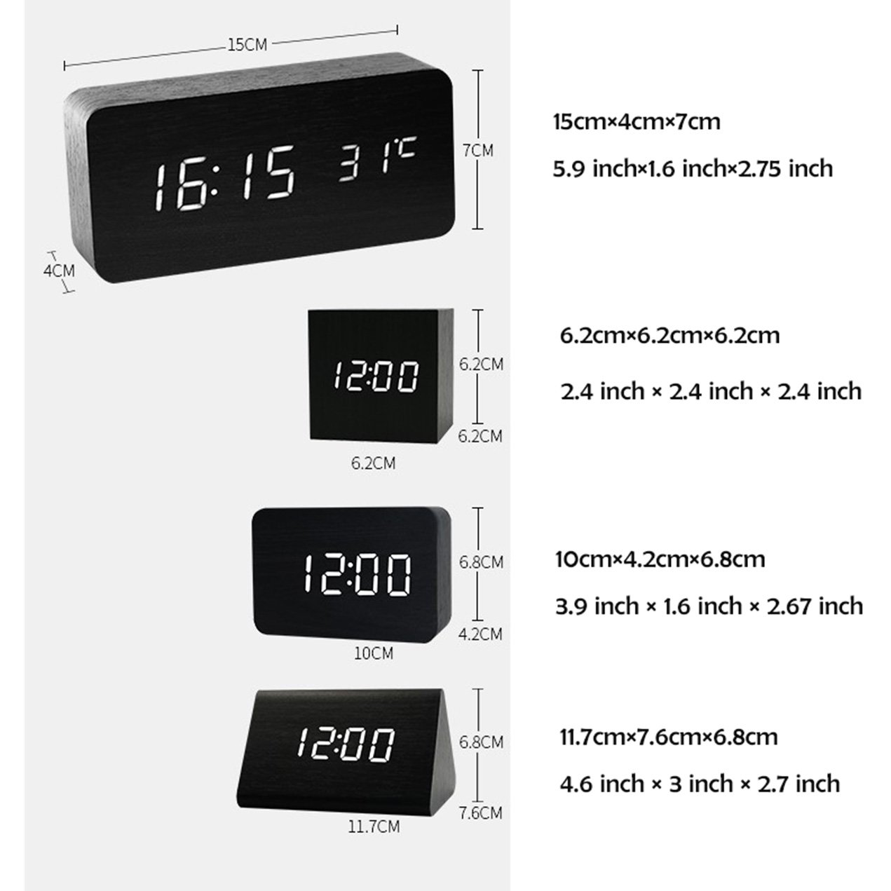 Alarm Clock,Wood Digital Alarm Clock, Wooden Wake Up Bedside Travel Alarm Clock with Time Temperature Humidity Sound Control Led Alarm Clock for Home Bedroom Office-triangle by Girlsight (Image #2)