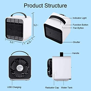 Personal Portable Mini Air Cooler Fan USB Circulator Purifier Humidifier Personal Air Space Cooler Fan with 3 Speeds and Night Light for Home Room Office Outdoors JYSW Air Conditioner Fan