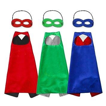 Capa y Máscaras para Fiesta cumpleaños Navidad Escolares Juguetes Capa de superhéroe Disfraces de Halloween para Niño Niña Cosplay - 3 Capa y 5 ...