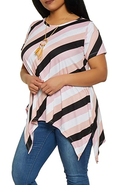6f31cdab27d7ea GRAPENT Women s Plus Size Round Neck Cutout Top Short Sleeve Swing Peplum  Blouse Striped Pink 1X