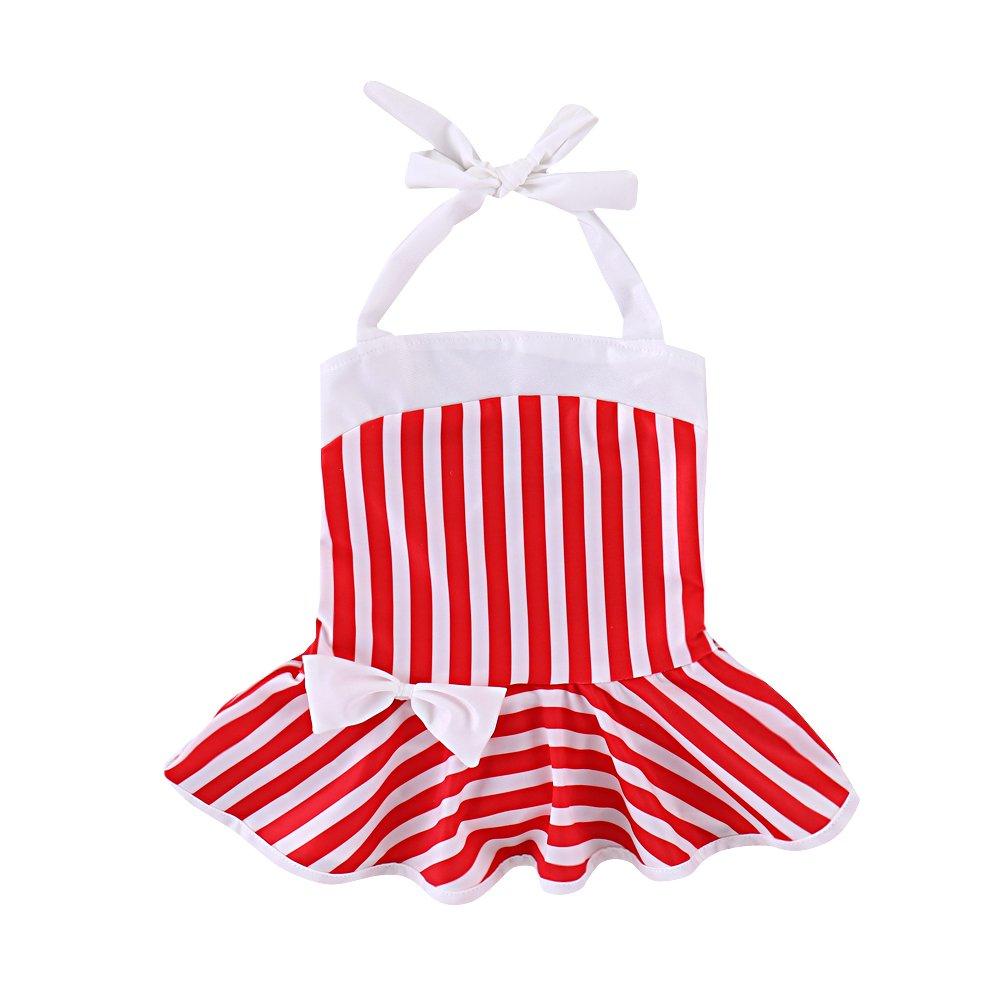 Brightup Baby Girls One Piece Swimsuit Ruffle Red and White Striped Swimwear Swimming Costume