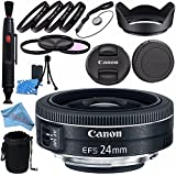 Canon EF-S 24mm f/2.8 STM Lens 9522B002 + 52mm 3 Piece Filter Kit + 52mm Macro Close Up Kit + Lens Cleaning Kit + Lens Pouch + 52mm Tulip Lens Hood + Fibercloth Bundle