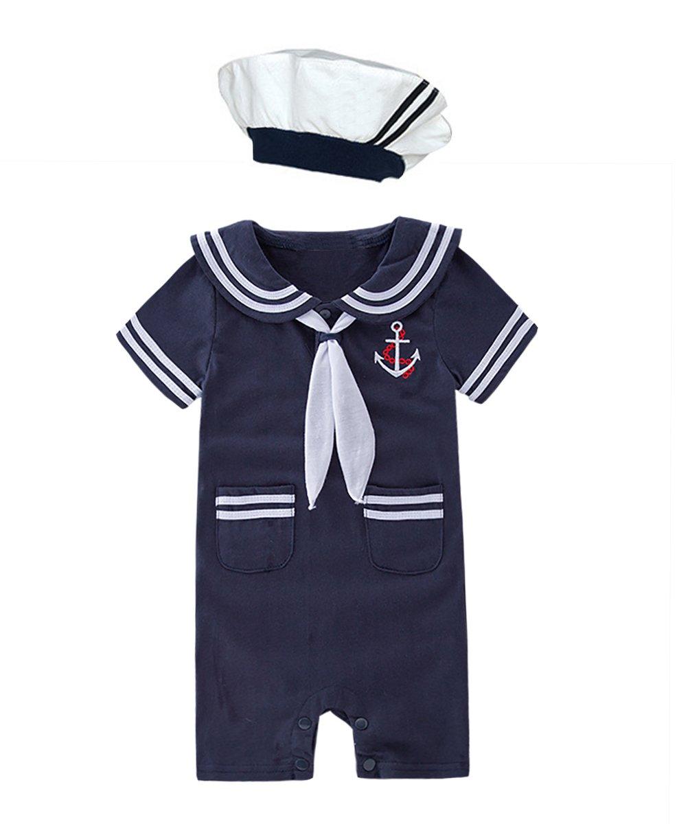 XM Nyan May's Baby Toddler Boys Sailor Stripe Romper Marine Navy Romper Onesie Outfit (18-24 Months, Navy B)
