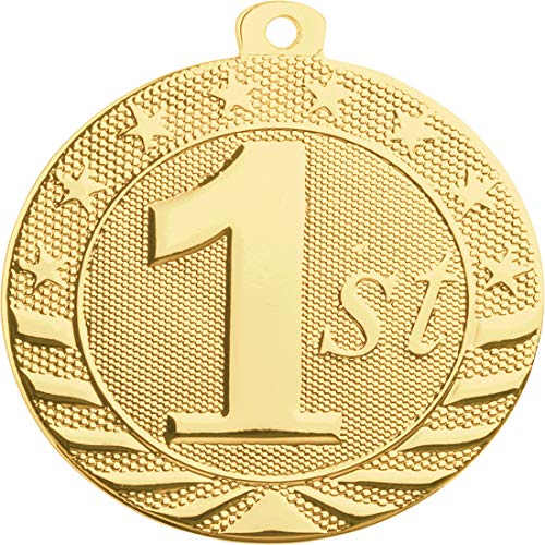 Express Medals 10-Pack of 1st First Place 2 inch Gold Color 1st Place Medal Trophy with Neck Ribbons Metal Awards -