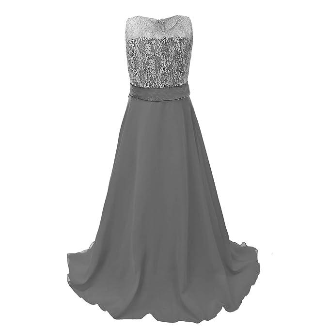 Discoball Niñas Encaje Vestido de Gasa Vestidos de Novia (Longitud de Suelo Vestido Largo Vestido