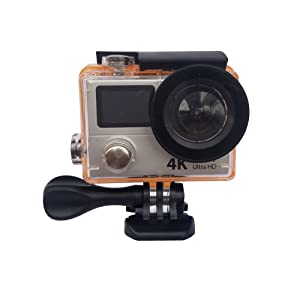 360VR 4K UItra 1080P60 FULL HD Dual Color Display Screen Waterproof WIFI Sport Action Camera Bundle with 2.4G Remote Bracelet MDV3000R(silver)