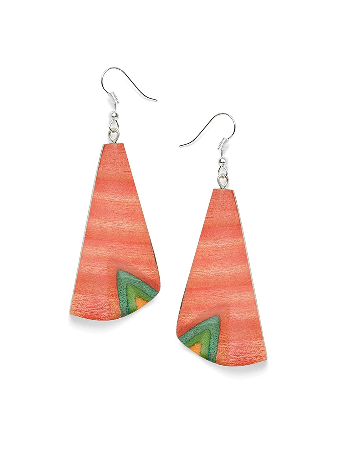 ZeroKaata Fashion Jewellery Dual Colored Designer Wooden Handmade Jewellery Danglers For Girls and Women