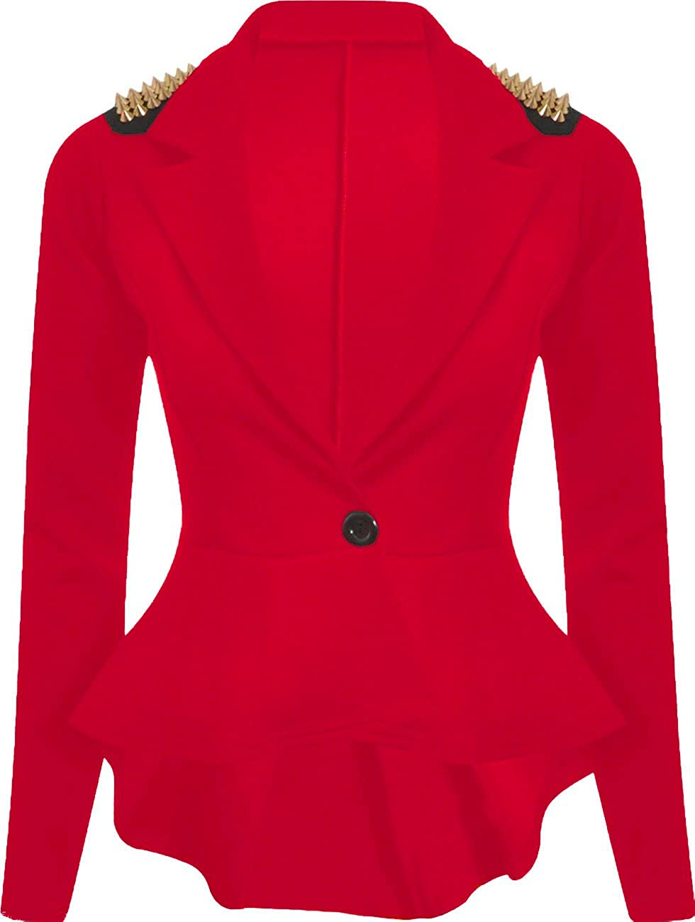 Red Olives® Womens Ladies One Button Spike Studd Frill Peplum Blazer Studded Jacket Top UK 8-24
