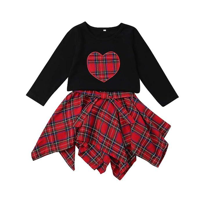 5ac7a7782 Fairy Baby Niñas pequeñas 2pcs Conjunto Niño Camiseta Negra + Falda a  Cuadros Skate  Amazon.es  Ropa y accesorios
