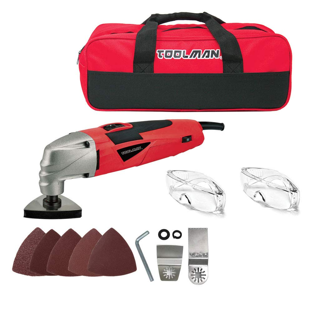 B07QCLBQ2P Toolman 2.1A 5 Variable speed Multi-Purpose Oscillating Tool 14pcs with sanding papers, goggles and tool bag For Cutting Grinding DB5803A 61PC9qydYlL