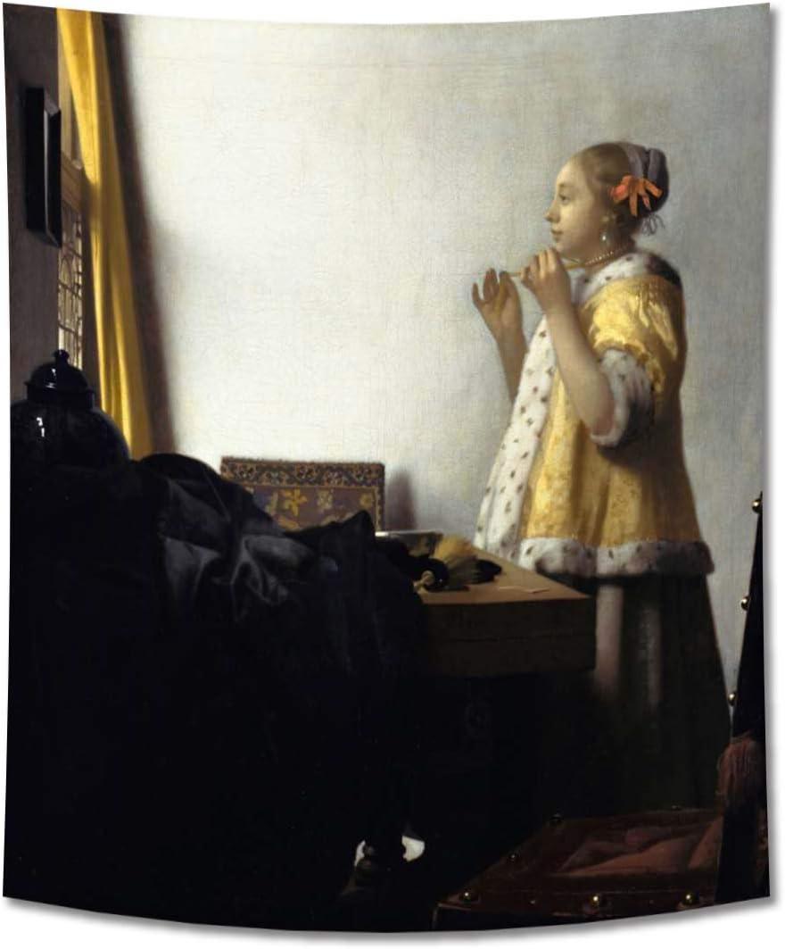 GUAMISS Imprimir Colgando Pared Tapices Pared Mantas – Johannes Vermeer – Mujer con Un Collar De Perlas Reproducción –130X150 cm – Humano Impresións Decoración Muro
