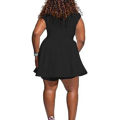 9edce190fd2 Yacun Women s Cap Sleeve Short Jumpsuit Plus SIZ Rompers Culotte Pants  Black L