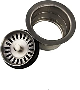 "Nantucket Sinks 3.5EDF-BRS Extended Flange Disposal Kitchen Drain, 3.5"", Brushed Stainless"