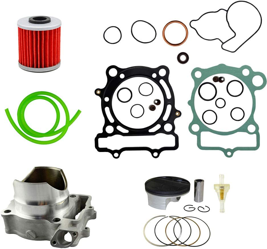 AHL Cylinder Head /& Piston Kit /& Oil Filter /& Fuel Filter /& 40cm Oil Tube Set 77mm Bore for Kawasaki KXF250 2004-2008