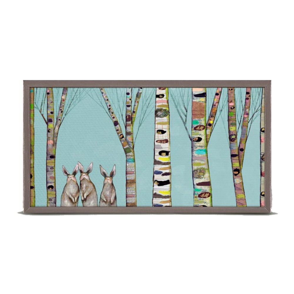 Bunnies In The Woods Mini Framed Canvas, Wall Art, 10'' x 5''.