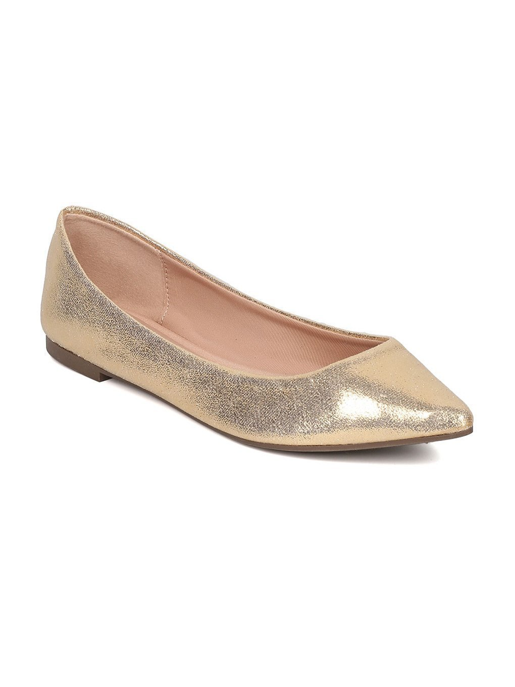 Breckelle's Women Faux Suede Pointy Toe Ballet Flat GH13 B06XYJDW2X 8.5 M US|Champagne