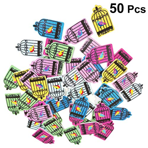 Healifty Wooden Buttons 2 Holes Bird Cage House Pattern for Sewing Crafts Scrapbooking 50pcs ()