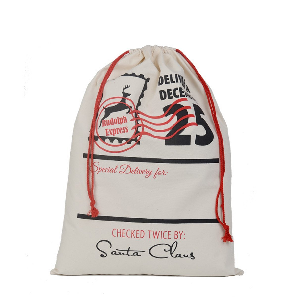 Welldone Canvas Santa Sack Cotton Bag with Drawstring Personalized Name for Holiday Presents