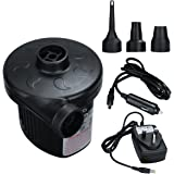 Electric Air Pump 220V AC/12V DC 2 in 1 Automatic Inflatable Boat Pump with 3 Nozzle Adapters,LEXGO Universal Valves Electric Inflatable/Deflatable Air Pump for Garden Home Holiday Camping Airbed,Kids Paddling Pool & Toys,Beach Inflatables etc
