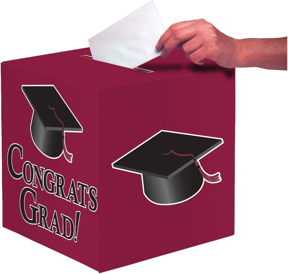 Creative Converting Congrats Grad Card Holder Box, Burgundy -