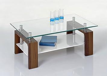 Proline Tische Tommy Couchtisch Nussbaum Klarglas Und Weiss Amazon