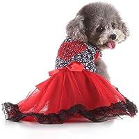 Alician Pet Princesa Vestido Primavera Verano con Lazo Estampado Leopardo para Perros Hogar Suministros, \U00A0Rojo, XS, 1