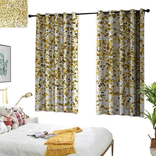 RuppertTextile Abstract Thermal Insulated Drapes for Kitchen/Bedroom Party Celebration Themed Confetti Like Squares Abstract Ombre Image 63