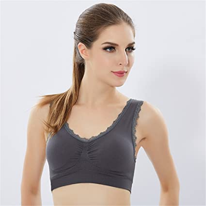 Comfort Bra Mujeres Niñas Sujetador Deportivo Seamless Running Yoga Lace para Mujeres Sujetador Sleep In Yoga