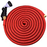 Expandable Garden Hose 100ft by WATERGREENE with Spray Gun, Long Lasting Construction & Solid Brass Fittings. Full 12 month guarantee. (100 feet, Red, Premium Metal Connectors)