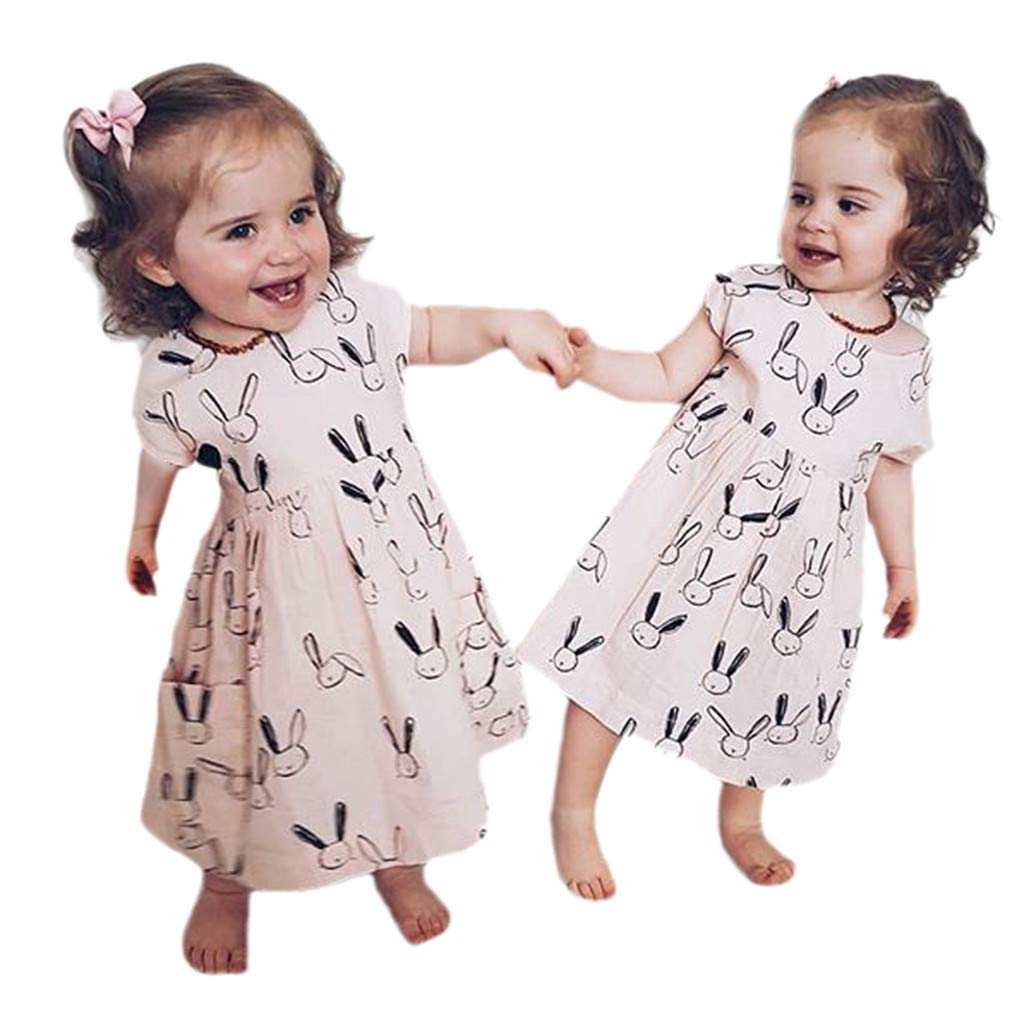 NUWFOR Toddler Baby Kid Girl Summer Rabbit Print Pocket Princess Dresses Casual Clothes(Beige,18-24 Months) by NUWFOR (Image #1)